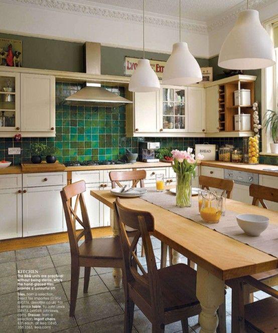 Maybe bottom cabinets white plus enamel over the beigy-pink backsplash tile  like this? Want that kitchen with handmade tile backsplash!