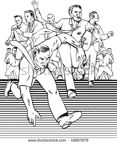 Group of people running away from something  #panic #retro #illustration