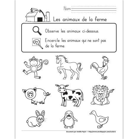 Fichier PDF téléchargeable En noir et blanc seulement 1 page  Ce document est conçu pour les élèves du préscolaire ou de la garderie. Ils doivent trouver les 3 intrus parmi les animaux de la ferme illustrés.