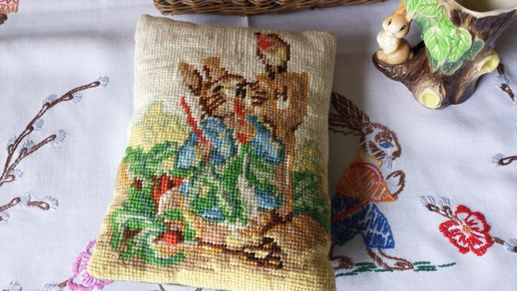 New to NostalgiqueBoutique on Etsy: Sweetest Peter Rabbit Tapestry and Velvet Cushion Easter Small Cushion (24.00 GBP)