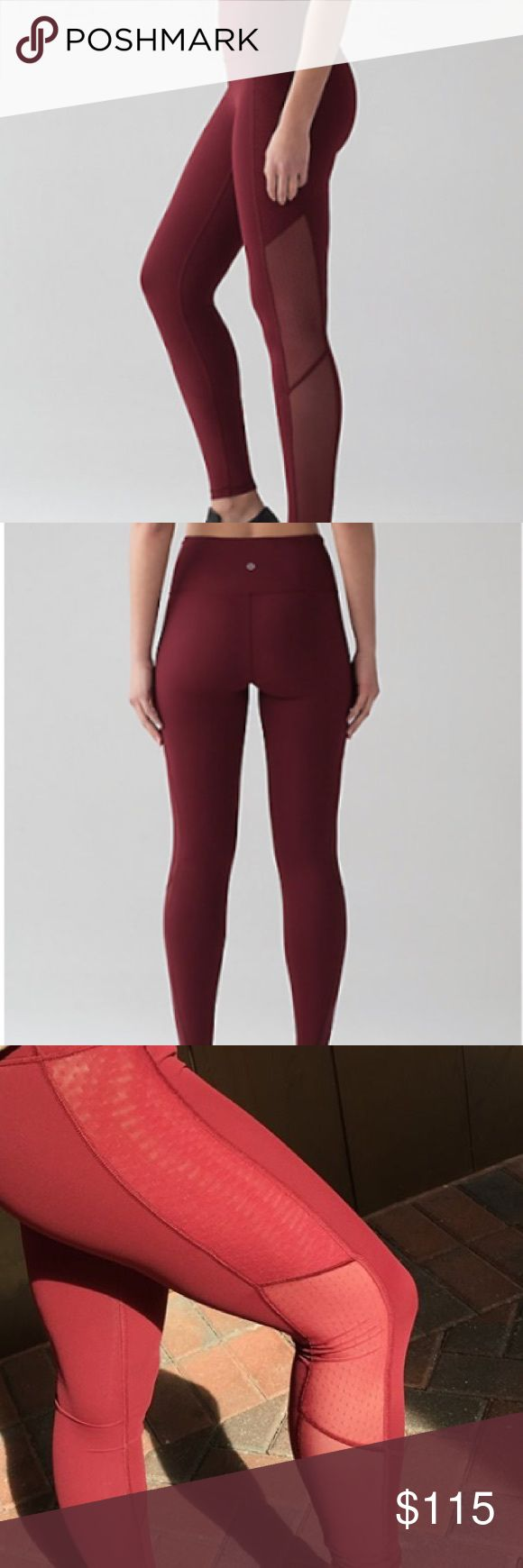 Lululemon Bodycon Tight Only worn three times. Mesh detail goes all the way up to waist! Deep rouge color like stock photos, not like third picture in sunlight. Excellent condition, size 4. lululemon athletica Pants Leggings