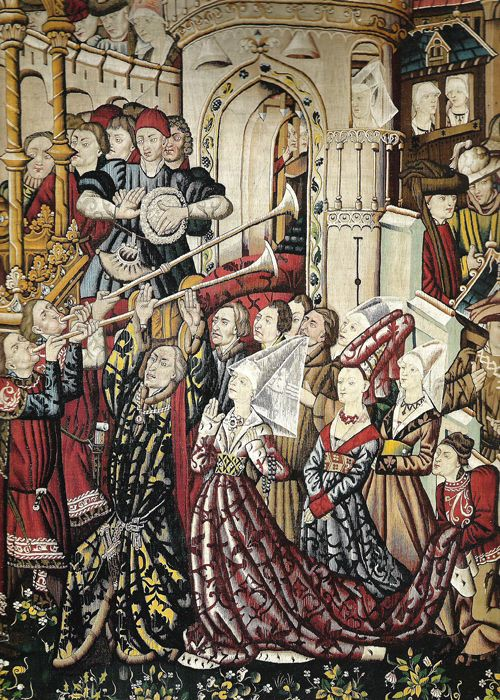 TRUMPETERS  Detail of a 15th century tapestry showing the Burgundian fashion