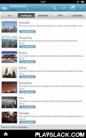 China Travel Guide By Triposo  Android App - playslack.com , Features of Triposo's guide to China:★ Suggestions of what's interesting to see and do in China, depending on time, weather and your location;★ A detailed sights section with all the monuments of Beijing, Shanghai, Guangzhou, Xian;★ Eating out section with the best restaurants in Beijing, Shanghai, Guangzhou, Xian;★ Discover the nightlife of China! Bars, pubs & disco's in Beijing, Shanghai, Guangzhou, Xian;★ Book hotels in…