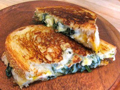 Spinach Artichoke Grilled Cheese Sandwich.