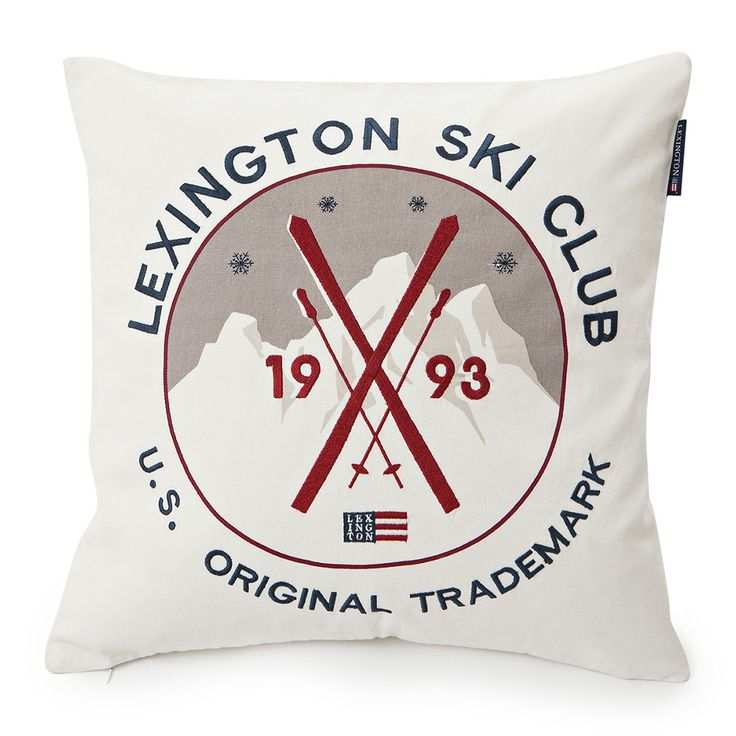 Relax and unwind with this Ski Club cushion from Lexington. Perfect for placing on a sofa or layering over bed linen, the quirky cushion features a retro ski club design...