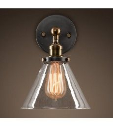 Clear Glass Funnel Filament Wall Light