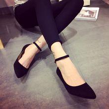 Para mujer puntiagudos zapatos de los planos del tobillo correa zapatos planos primavera y el otoño de ante de tacón bajo zapatos boca baja de la hebilla Tenis femenino(China (Mainland))