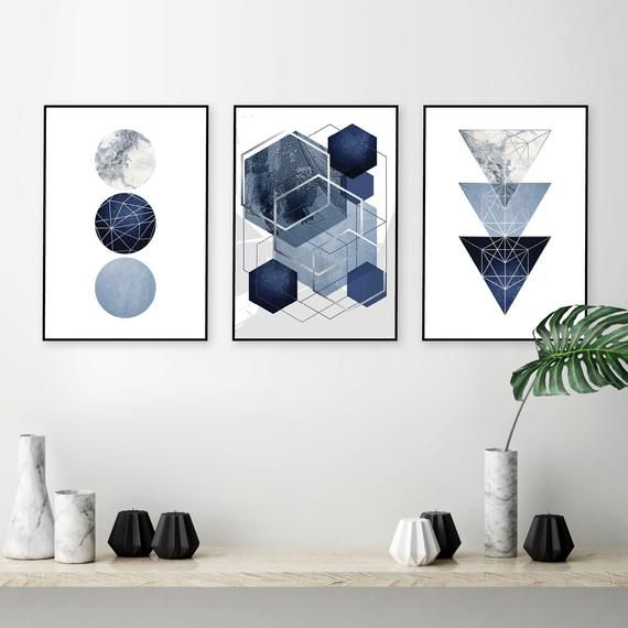 Set Of 3 Downloadable Navy Blue Silver Geometric Prints Etsy Navy Blue Wall Art Printable Art Set Geometric Art Printable