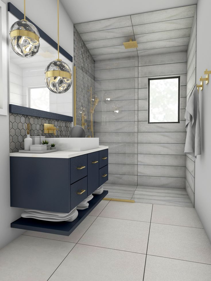Navy Blue Floating Vanity With Brass Accents In Modern Bathroom Floating Bathroom Vanities Modern Bathroom Vanity Bathroom Vanity Designs