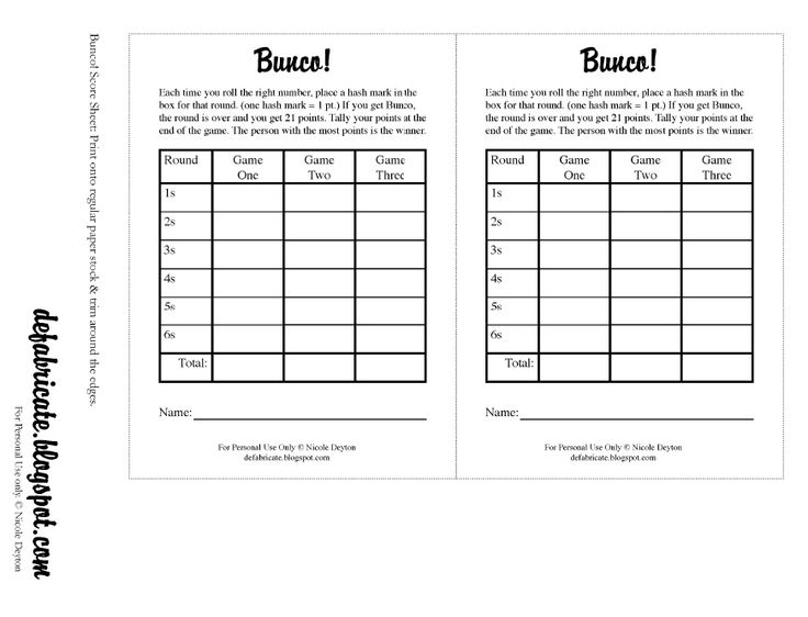 43 best Bunco and games images on Pinterest Card games - football score sheet template