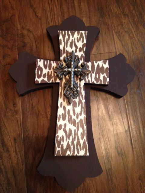 Brown Cheetah print and gold Wooden Wall Cross by bstreetboutique. $30.00, via Etsy.