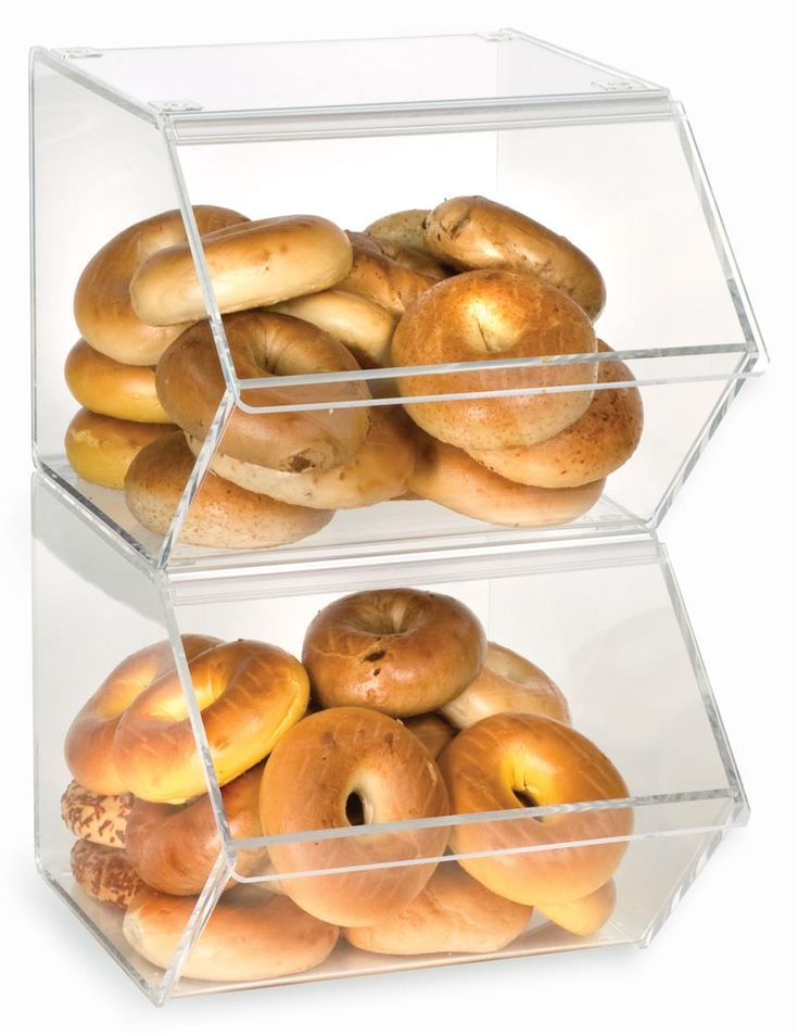 Bagel & Merchandise Bin | Stacking Connectors for Space Conservation