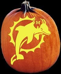 dolphins halloween pictures   NFL Football Miami Dolphins Pumpkin Carving Pattern - Jack O Lantern ...