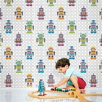"""Robot Wallpaper Full Kit-Decorate your tech-savvy darling's bedroom, playroom, or bathroom with removable wallpaper in a stylishly kid-friendly robot print.  Simply peel and stick –  Design a futuristic video game station, or highlight a drafting table with a chic-geek accent wall.  Full Kit includes 4 rolls wallpaper (totaling 10.44 yards in length) Each roll is 26"""" wide by 94"""" long Peel and stick vinyl Squeegee hand tool included -#newleafgifts"""
