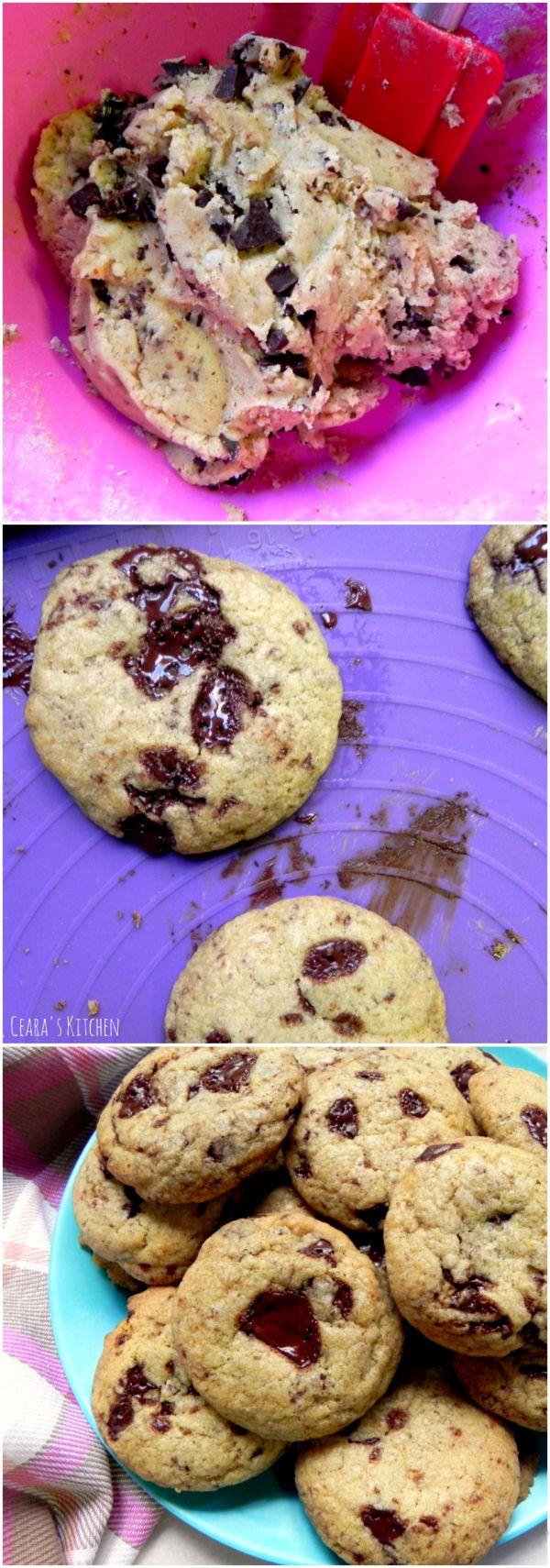 The BEST #VEGAN Chocolate Chunk Cookies! Perfectly soft, thick and gooey in the middle & chewy around the edges! It took me almost a year to perfect this recipe! - Ceara's Kitchen #cookiemonster