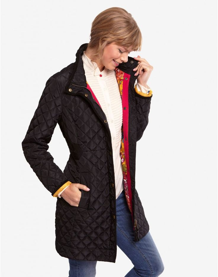 Long Quilted Jacket Womenblack Fairhurst Womens Long Length ...