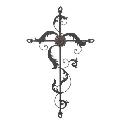 This beautiful iron wall cross features delicate design mated to a strong framework. The flourishes and central flower are a pretty way to decorate your space with love, faith and style.