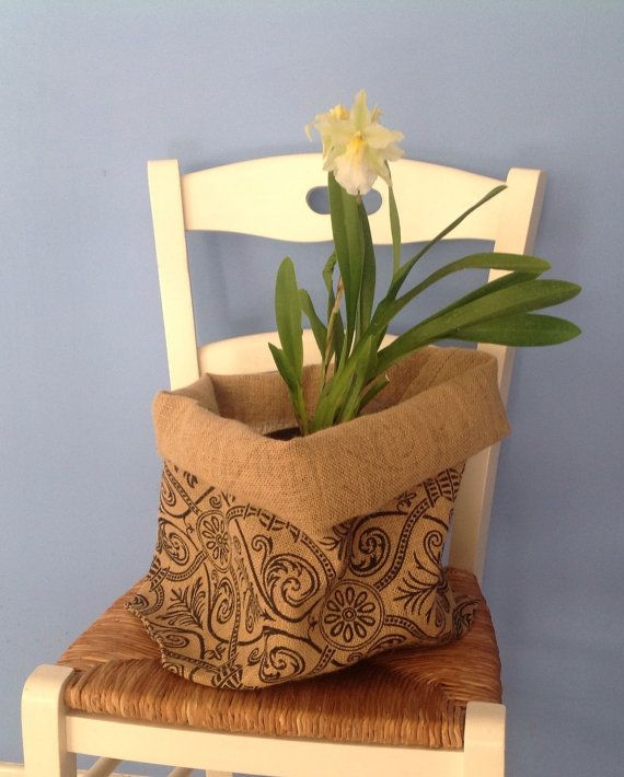 Handmade hessian bags perfect for potted indoor plants by Happyhessian, $20.00