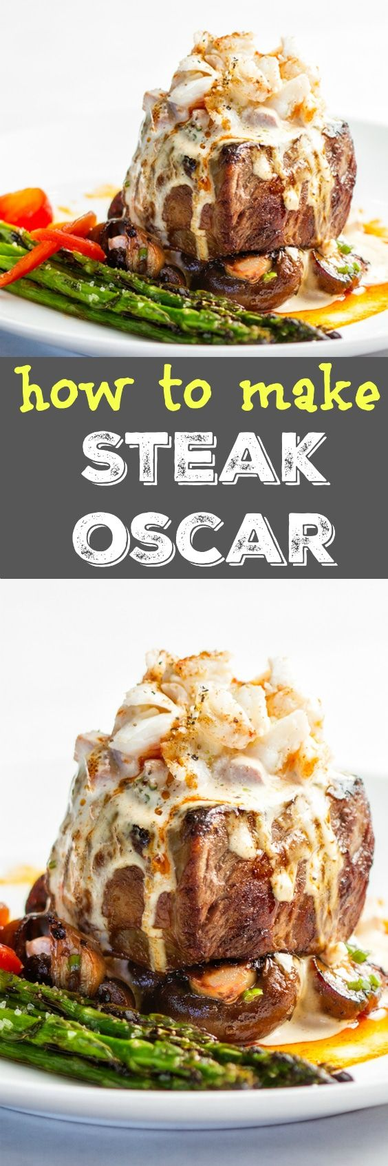 Easy but absolutely decadent Steak Oscar recipe! This is sure to make dinner time a special one for the whole family! While traditional Steak Oscar calls for Bernaise, my trick of topping with blender Hollandise makes this the easiest fancy dish ever!