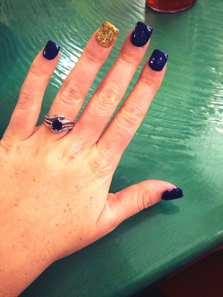 Dark Navy Blue With Gold Accent Acrylic Nail Nails Ideas Acrylic Glitter Gold Acrylic