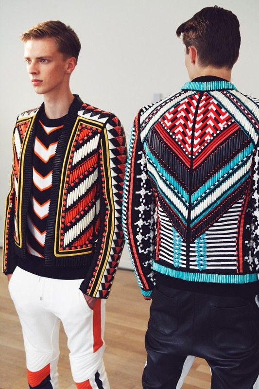 Beaded jackets in geometric graphic pattern. Backstage at Balmain Spring 2015 Menswear. Photo: Marie-Amélie Tondu http://www.dazeddigital.com/fashion/gallery/18084/0/balmain-ss15