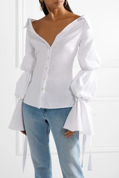 4ff065f449cc Margaret Off-the-shoulder Cotton-blend Poplin Blouse