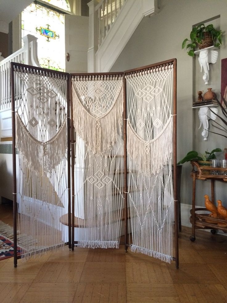 Macrame room divider, macrame screen, bohemian decor, boho decor, macrame headboard by Ball and Claw Vintage X Niroma Studio