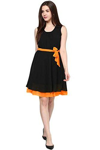Binny-Creation-Womens-Tunic-Dress-BC-Black-orange-tunic-MBlack-orange