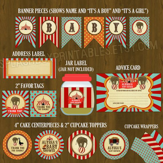 Printable/digital vintage circus baby shower party kit.  These would look great printed on our eco-friendly paper products; a great Etsy collaboration!