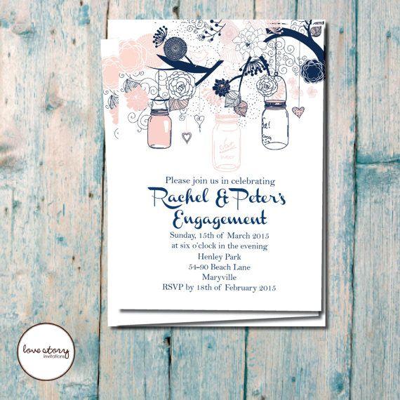 Garden Engagement Party / Engagment Invitation / Mason Jars  / DIY Printable / Printed invitations with free envelopes