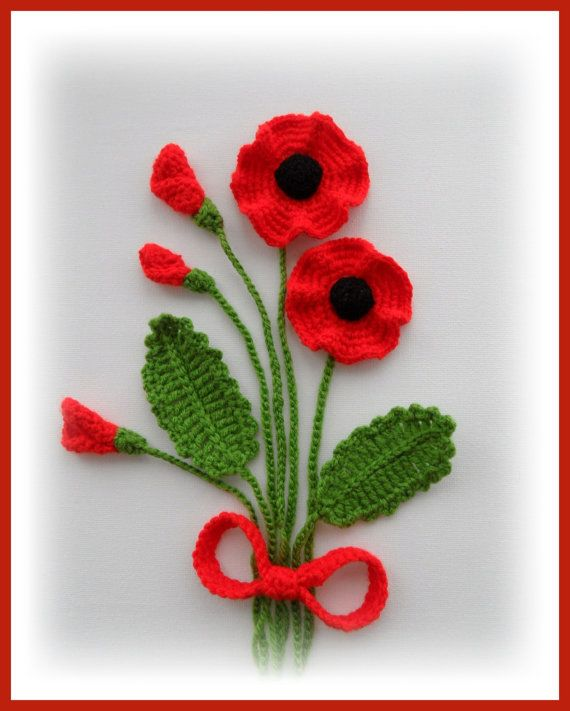 Crochet Applique Poppy Flowers and Leaves Set   by CraftsbySigita,