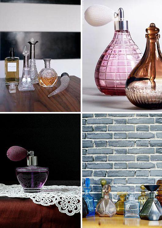 Flakonger parfymflaskor gamla flaskor i glas