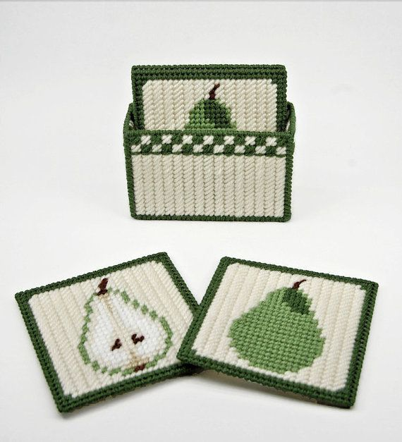 Country Pears Coasters pattern in Plastic Canvas $4 on Etsy