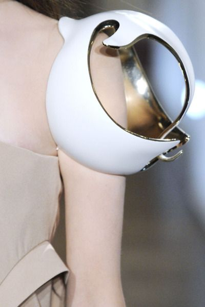 Sculptural shoulder piece with two tone spherical structure - wearable art; 3D body adornments // Naomi Filmer