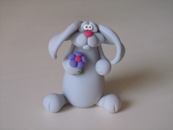 Whimsical Polymer Clay Bunny and Flower by ClayPeeps on Etsy