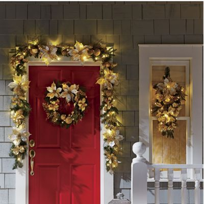 Gold Poinsettia Swag u0026 Garland from Country Door : counrty door - pezcame.com
