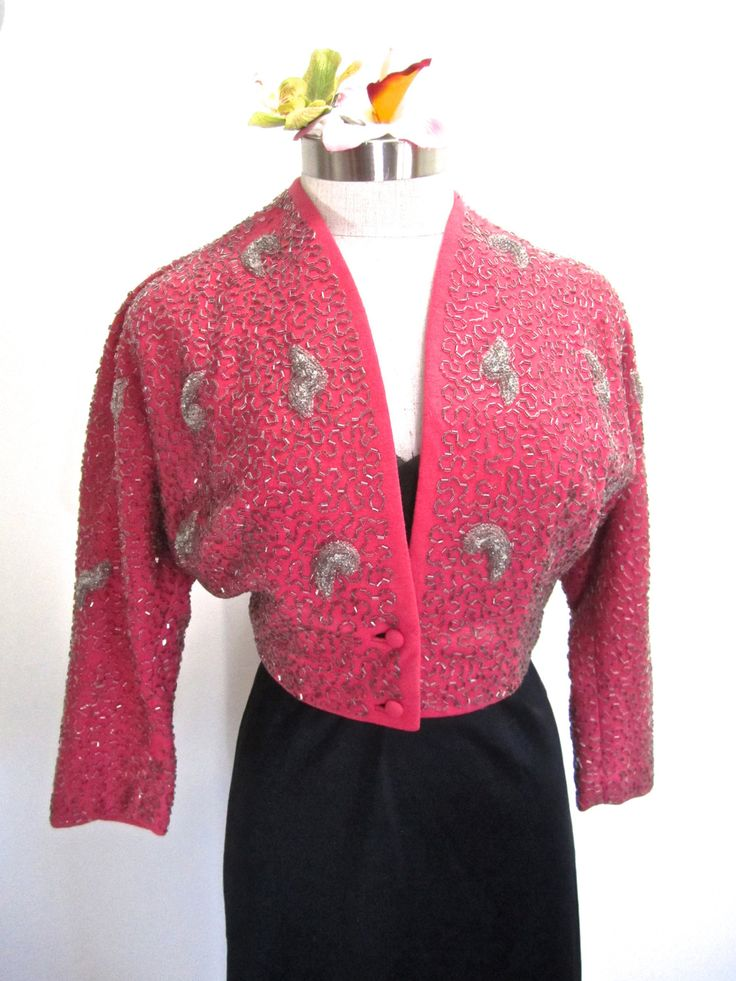 SOLD: S 40s 50s Jacket Wool Pink Bolero Cropped Button Front Silver Bugle Beads Small by Ruby of California by LikewiseVintage on Etsy