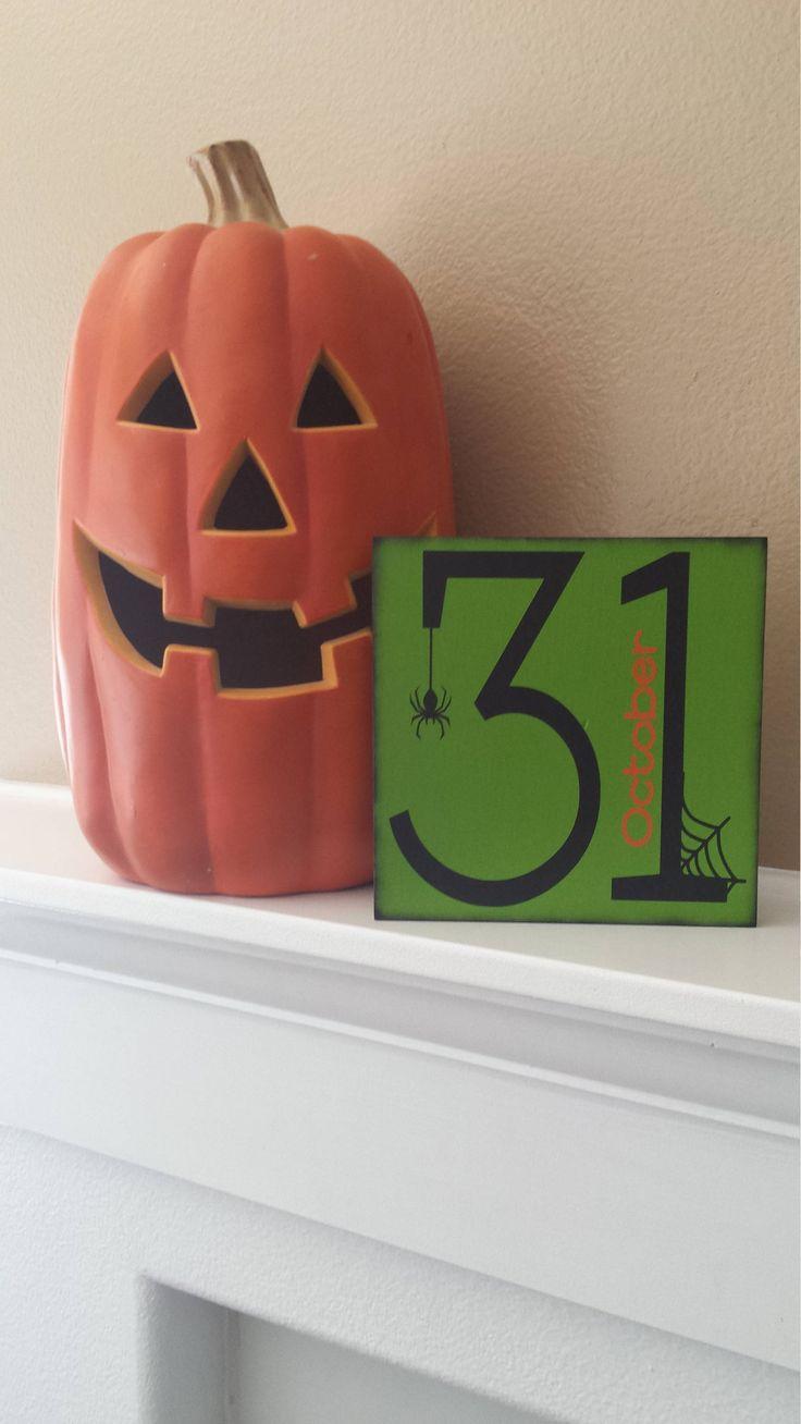 October 31 Halloween Sign, Halloween Decor, Halloween Sign, Halloween Block, Fall Decor, October Sign, October Decor, Halloween Decoration by DeannasCraftCottage on Etsy