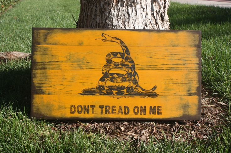 Don't Tread On Me sign Gadsden Flag hand painted by DownHomeFrills, $50.00