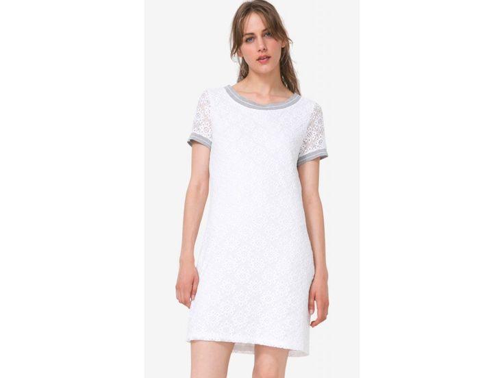 Šaty krajkové značky Desigual. Barva bílá.   74V2WK5/1000    Jaro-Léto 2017