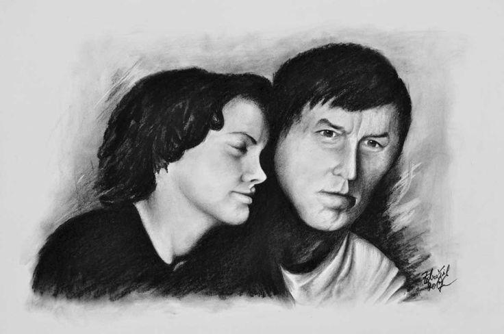 Kresba páru ze starší fotky