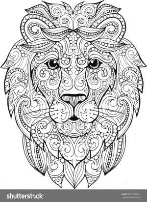 Hand drawn doodle zentangle lion illustration. Decorative ornate vector lion head drawing for coloring book by helga