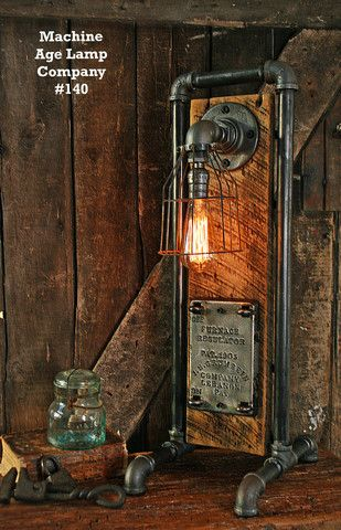 Steampunk Industrial Lamp Antique Boiler Door - #140