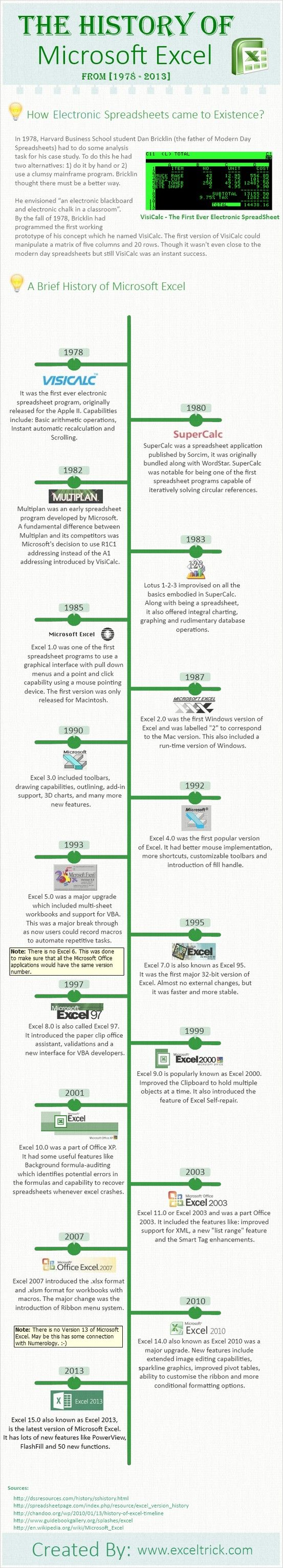 The history of Microsoft Excel #infografia #infographic #software