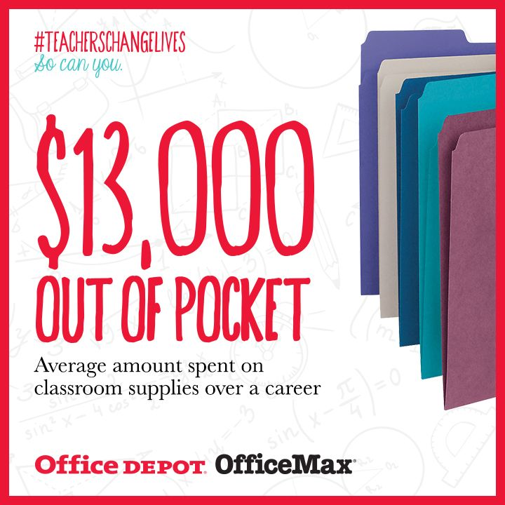 Teachers spend an estimated $13,000 on classroom supplies over the course of their careers. Learn more about how #TeachersChangeLives.