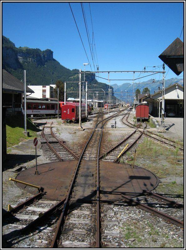Das Bahnhofgelande Der Zentralbahn In Meiringen Aufgenommen Am