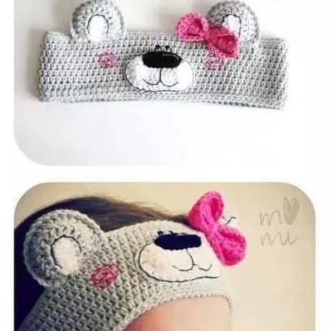kız çocuklar için ayıcık desenli tığ işi bandana modeli