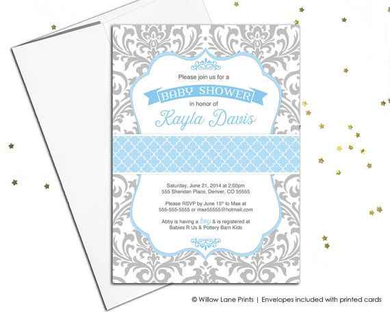 Baby boy shower invitation - blue and gray baby shower invite damask pattern - printable baby shower invitation or printed - WLP00778 by WillowLanePaper