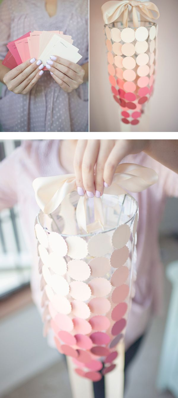 DIY Paint Swatch Chandelier. Such a cute idea for a girl's room! >change colors for sun room!
