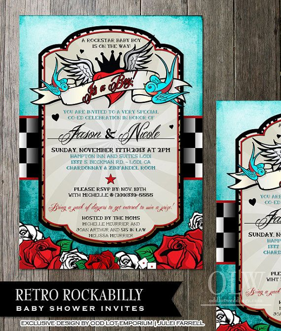 Rockabilly Baby Shower InvitationBlue Checkered  by OddLotEmporium, $22.00